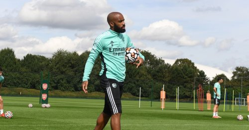 Lacazette looked in good spirits in Arsenal training amid contract talks