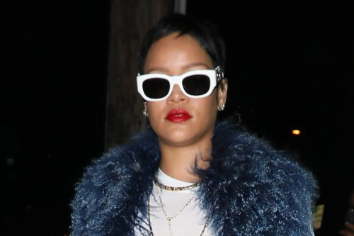 Rihanna Tackles the 2000s in a Peek-a-Boo Top, Tie-Dye Pants & a Dramatic Furry Coat