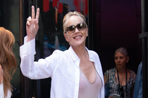 Sharon Stone is Summer Chic in Silk Scarf Belt and Espadrilles in NYC