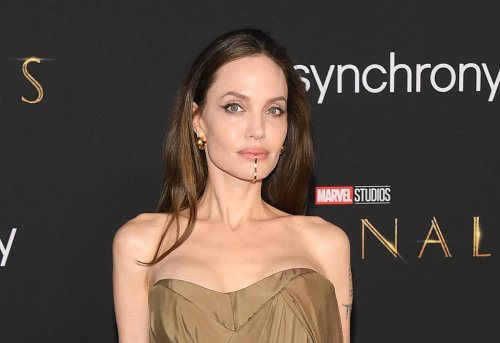 Angelina Jolie Makes an Elegant Arrival in Bronze Gown & Matching Pumps With Children at 'Eternals' Premiere