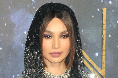 Gemma Chan Sparkles in Hooded Crop Top, See-Through Skirt and Open-Toed Boots at 'Eternals' London Premiere