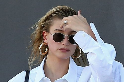 Hailey Baldwin Masters the Canadian Tuxedo in Her Favorite Mom Jeans & Custom Off-White Sneakers