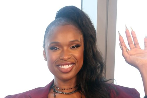 Jennifer Hudson Unveils Her Wax Figure in a Deep Red Suit and Chain-Link Sandals