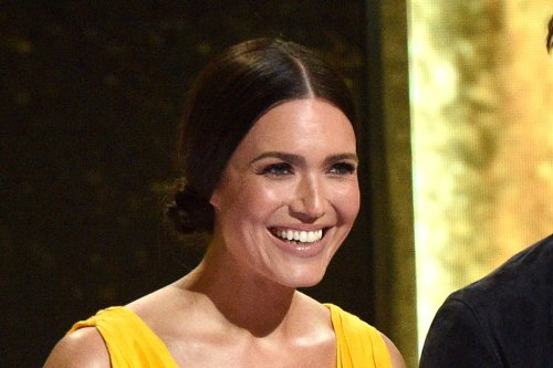 Mandy Moore Glows in a Plunging Yellow Gown & Towering Stilettos at the MTV Movie & TV Awards 2021
