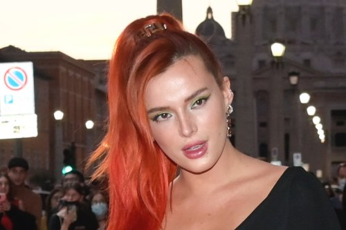 Bella Thorne Breaks Red Carpet Rules in Safety Pin Gown With a Daring Thigh-High Slit and Slingback Pumps for 'Time Is Up' Premiere