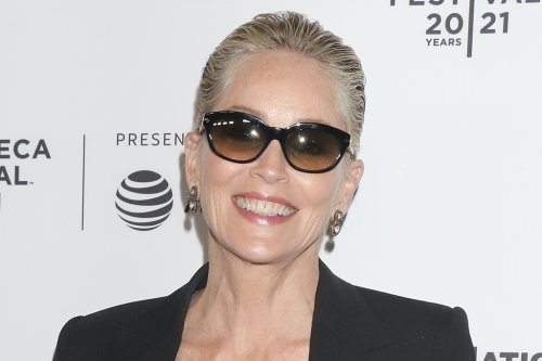 Sharon Stone Stuns in Leopard-Print Dress and Patent Pumps at Tribeca Film Festival