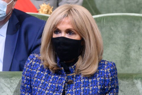 Brigitte Macron Is the Picture of French Fashion in a Blue Tweed Coat, Skinny Jeans & Slick Leather Heels