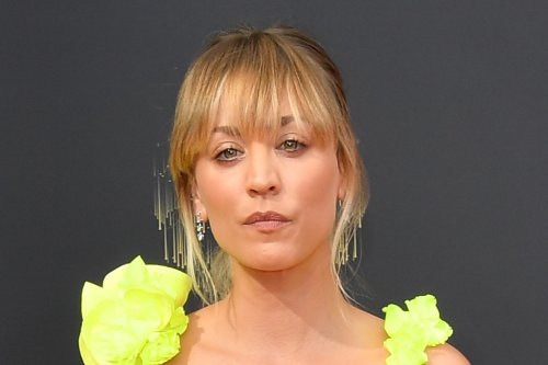 Kaley Cuoco Brightens Up 2021 Emmy Awards in the Boldest Neon Gown & Statement Heels