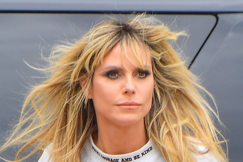 Heidi Klum Embraces The Canadian Tuxedo In Tom Ford & Unexpected Pumps For An 'AGT' Press Day
