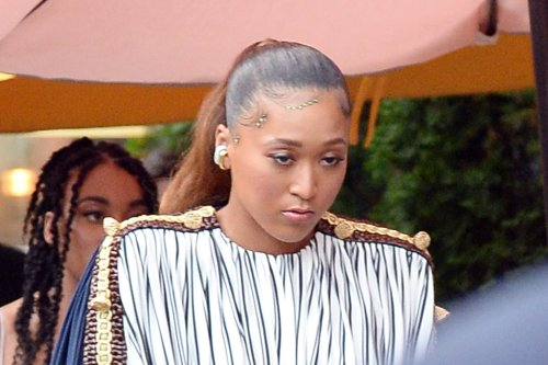 Naomi Osaka Goes Bold in a Striped Tunic Top & a Green Leather Skirt at the 2021 Espy Awards