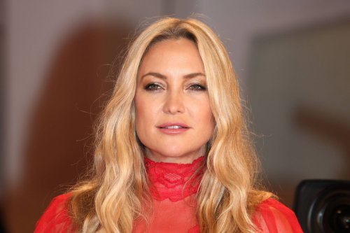 Kate Hudson Keeps Cozy in a Sports Bra, Fuzzy Cardigan & Ribbed High-Rise Pants