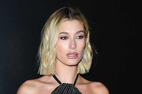 Hailey Baldwin Gets All Dolled Up in a High-Slit Glittering Gown & the Sleekest 6-Inch Platforms