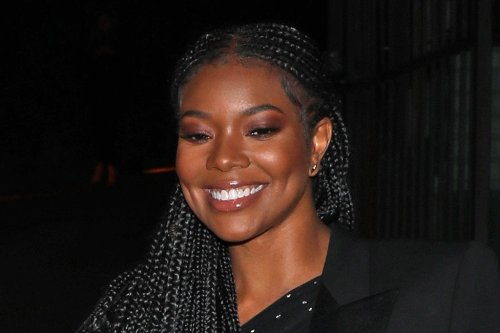 Gabrielle Union Reimagines Athleisure in a Mesh Bodysuit, Printed Tracksuit & Golden Sneakers