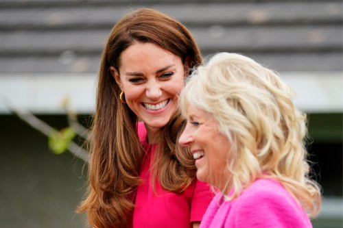 Kate Middleton & Jill Biden Coordinate in Shades of Pink & Nude Pumps for G7 Summit Meeting