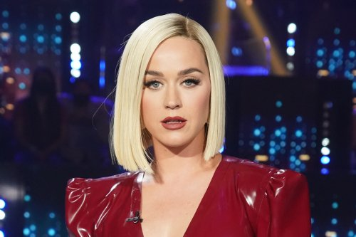 Katy Perry Brings 'Red Hot Drama' in a Slick Leather Dress & the Edgiest Thigh-High Boots