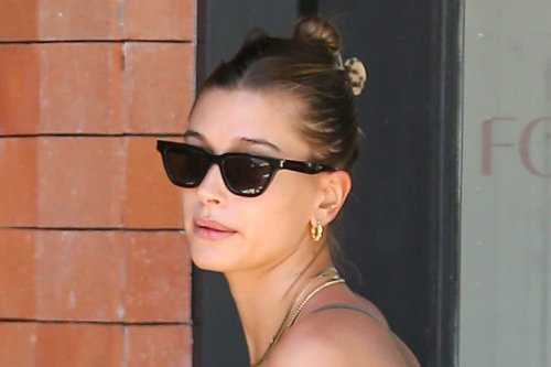 Hailey Baldwin Is the Picture of Summer in a Silky Bralette, Printed Pants & Towering Thin-Strap Sandals