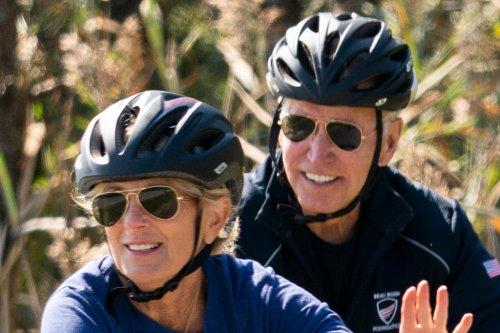 Jill Biden Bikes in Cropped Leggings & Nike Sneakers Alongside President Joe Biden
