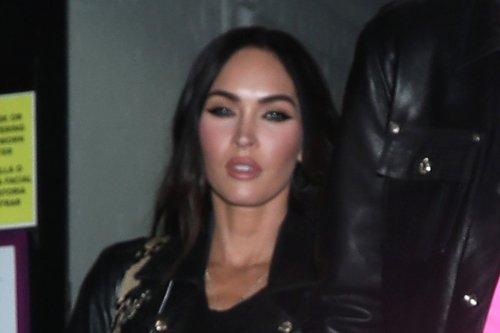 Megan Fox Wows in Crystal Sheer Top & Blazer Look With Matching Crystal Sandals