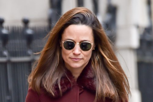 Pippa Middleton Takes Her Newborn Daughter for a Stroll in a Polka Dot Dress & Chunky Sneakers