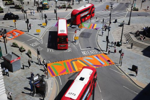 Piccadilly Circus London Major Art Takeover: Augmented Reality, Film, Painting, Flags