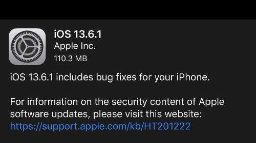 Apple Releases iOS 13.6.1: Sudden Surprise Update With Vital Fixes