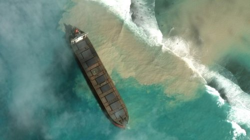 Satellite Imagery Captures The Massive Efforts To Slow Giant Mauritius Oil Spill