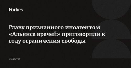 Главу признанного иноагентом «Альянса врачей» приговорили к году ограничения свободы