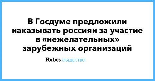В Госдуме предложили наказывать россиян за участие в «нежелательных» зарубежных организаций