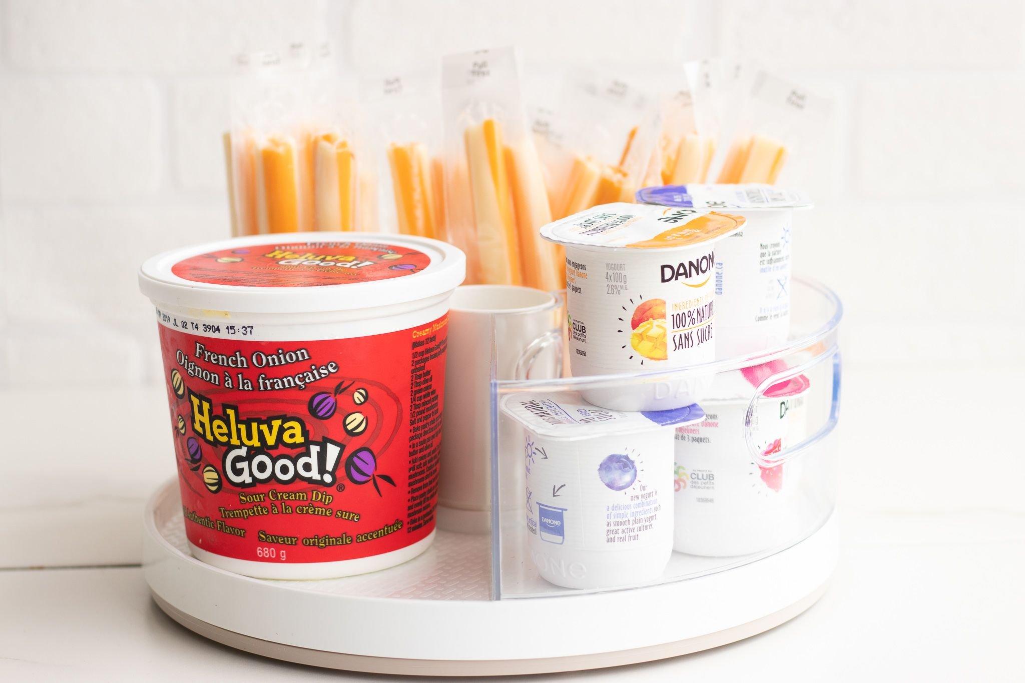 Lazy Susan DIY Hack: Fridge Snack Station - Forkly