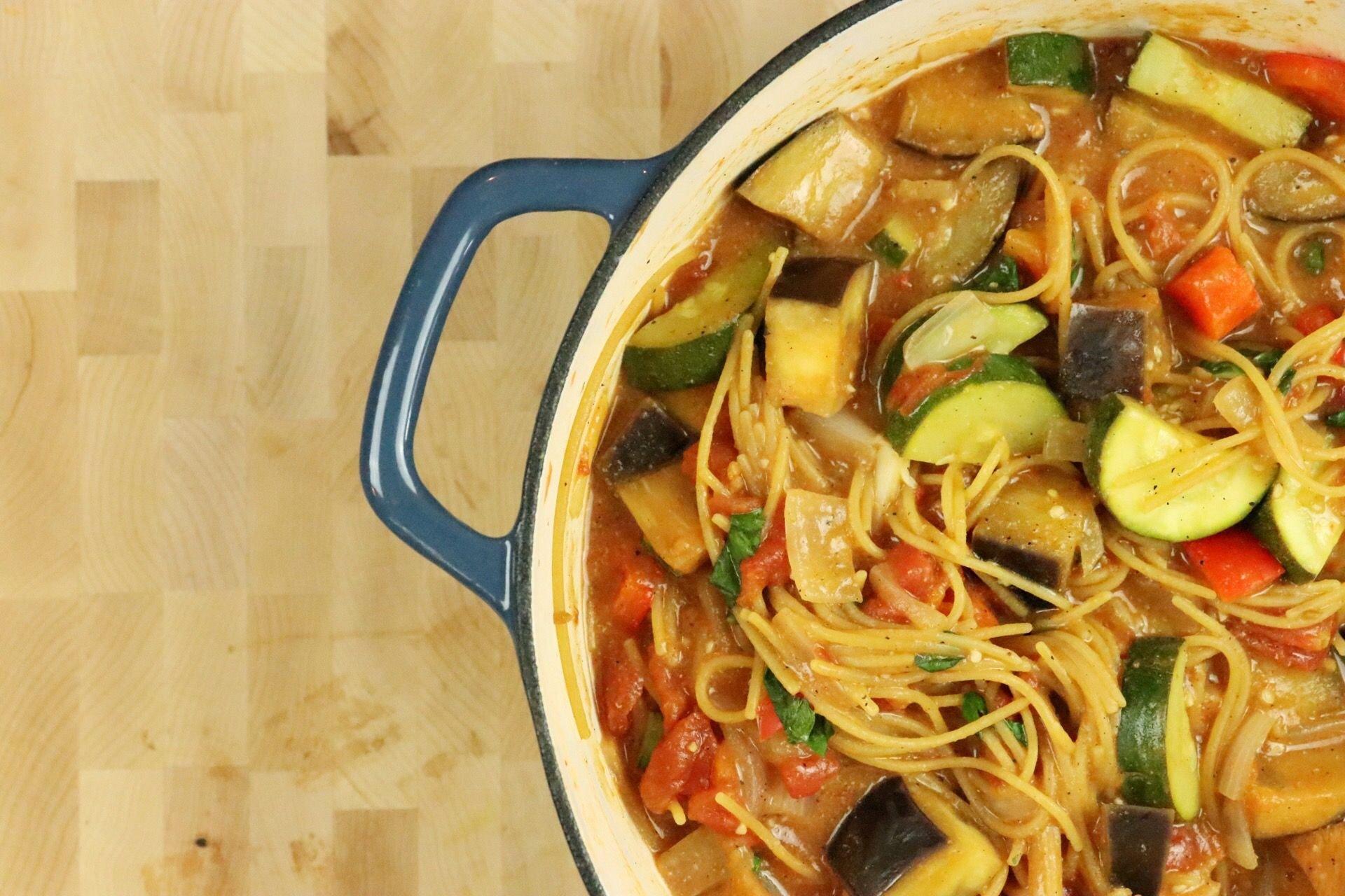 One-Pot Ratatouille Spaghetti - Forkly