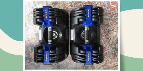 The adjustable dumbbells I bought during COVID fit the gym's weight rack into my living room