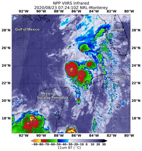 Tropical Storms Marco and Laura captured on NASA satellite images