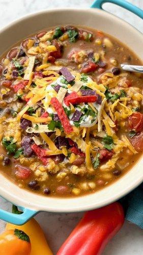 3 bean chicken soup for a cozy fall dinner idea