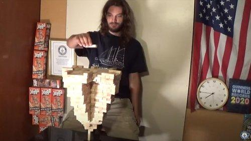 Arizona man stacks 485 Jenga blocks atop a single piece