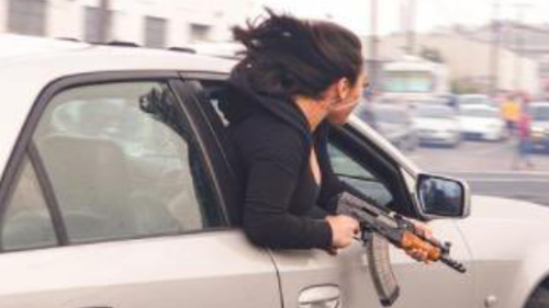 Woman leans out passenger window with AK-47 in San Francisco