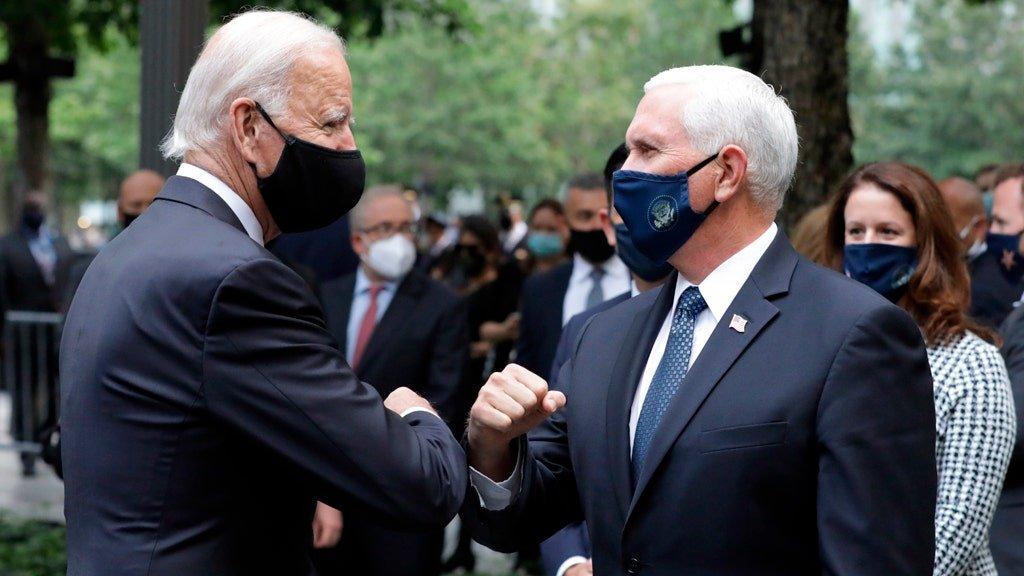Biden, Pence meet at 9/11 memorial in New York City