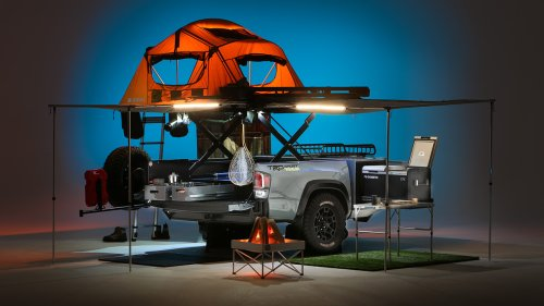 Toyota turned a pickup bed into a 1 bedroom, .5 bath travel trailer