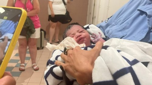 Mom gives baby fitting name after giving birth at Miami International Airport