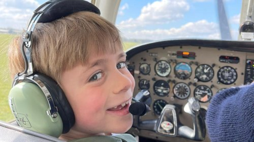 7-year-old boy with dreams of becoming a Royal Airforce Pilot takes first flying lesson
