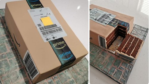 Mom bakes Amazon delivery box cake for shopaholic son's birthday