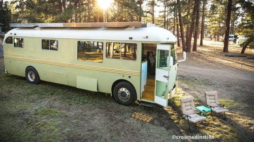 Man and wife renovate family-owned school bus, plan to recreate '70s road trip