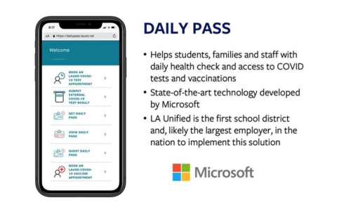Los Angeles Unified School District launches Daily Pass to coordinate health checks, COVID tests, vaccinations
