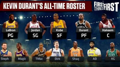 Nick Wright responds to Kevin Durant's All-Time NBA roster with his own | FIRST THINGS FIRST
