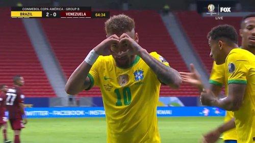 Neymar converts penalty to give Brazil 2-0 lead over Venezuela