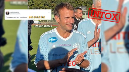 Emmanuel Macron n'a pas porté un maillot de football sponsorisé par Pfizer et Moderna