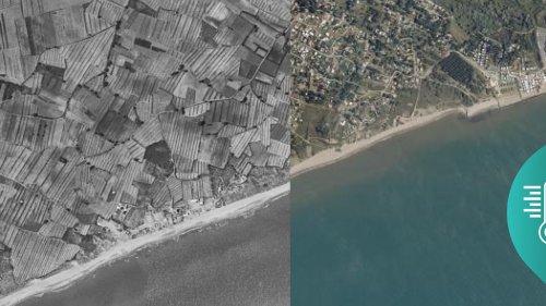 AVANT/APRÈS. Biscarrosse, Sainte-Anne, Etretat... Regardez l'impressionnante évolution du littoral en cinquante ans avec la #MontéeDesEaux