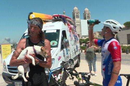 """Tour de France contre le cancer, le duo """"Fabriac"""" fait étape à Marseille"""