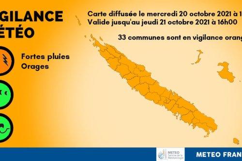Météo : les 33 communes du Caillou placées en vigilance orange fortes pluies - Nouvelle-Calédonie la 1ère
