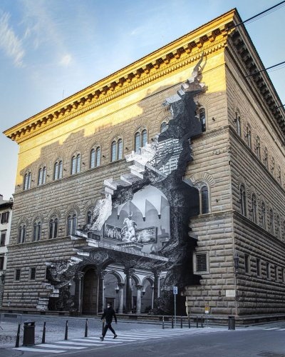 JR's Photocollage on the Facade of a Museum in Florence