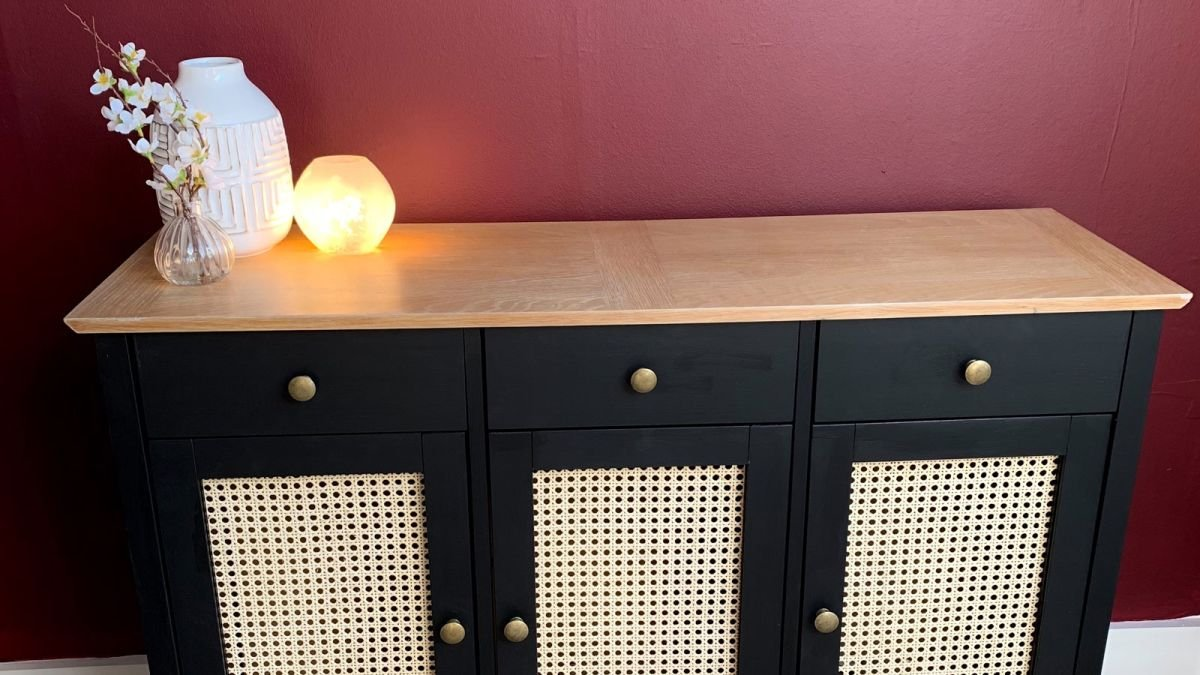 A DIY lover transforms an old Homebase piece into a rattan sideboard to match her Japandi scheme